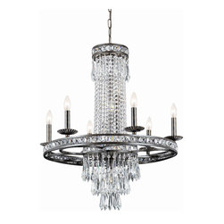 Crystorama - Crystorama 5266-EB-CL-MWP Mercer 10 Light Chandeliers in English Bronze - Our Mercer collection has all the angles covered. It is stunning no matter how you look at it. The metal work is as beautiful as the waterfall of crystal beads and faceted jewels that adorn it. From below, the metal forms a floral design, like something you might see in a stained glass window.