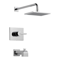 Delta - Vero Monitor 14 Series Tub and Shower Trim - Delta T14453 Vero Monitor 14 Series Tub and Shower Trim with Single Function Showerhead and Tub Spout in Chrome.