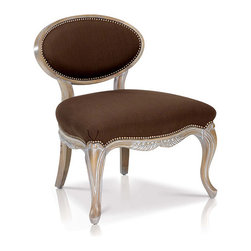 Saunders Louis XV Chocolate Linen Slipper Chair - For more information: