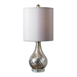 Uttermost - Girona Mercury Glass Table Lamp - Spiral fluted mercury glass accented with brushed aluminum details and a crystal foot. The round hardback shade is a silken champagne fabric.