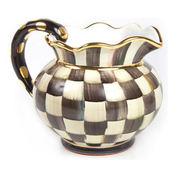 Courtly Check Fluted Pitcher   MacKenzie-Childs - Our Courtly Check pattern reveals a beautiful juxtaposition of ivory and onyx, combined with an intricate spectrum of jeweltoned colors. The Fluted Pitcher, inspired by our studio's original roots as a dairy farm, is a must-have for the avid Courtly Check collector. Equally splendid for special occasions or everyday use. Handmade, hand-painted and lustered with 23-karat gold; the beautiful finish takes no less than four kiln firings to complete. Each piece is stamped by the artisans involved in its creation.