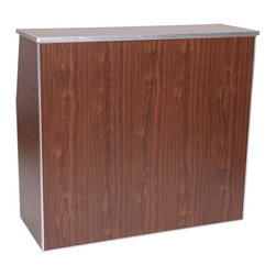 PRE Sales - Portable Bar in Walnut - Perfect for most drink stations. Side panels hinged to fold in/out. Hinged middle shelf locks with L brackets. Entire unit folds flat. Packs into bag or carton for easy transport.. Wood core with Laminated surface. Metal shaped edging. Walnut, White or Black Marble colors. Easy to move with a hand truck or two man carry. 3 year limited warranty. 48 in. L x 48 in. W x 42 in. H (85 lbs)This is a great bar for quick and easy set up, just about anywhere. The side panels are hinged, so they fold into place. So does the middle shelf. The top shelf is a separate piece that you put into place after folding the sides into open position. For take down, the top shelf just lifts right off. You can easily transport this bar with a hand truck, or with two people. The laminate surface makes for quick and easy clean up. Put a logo or sign in the front, and you have just created a banner ad for someone -- maybe for your client, or maybe for your own bartender service.