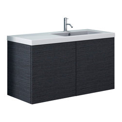 Iotti - 39 Inch Vanity Cabinet With Ceramic Sink - This contemporary, stylish bathroom vanity set includes a vanity cabinet with 2 doors made of engineered wood in a gray oak finish.
