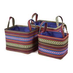 """Traders and Company - Colorful Nested Rectangle Fabric Baskets, Set of 3 - Lg = 12""""x9""""x9""""H - Tundra - Wake up any room with our colorful nested fabric hampers and baskets. Studry metal frame maintains the opening shape, and bright geometric patterns add a flash of color. Great for everyday storage around the home or in the kids room. Other patterns and shapes sold separately. Dimensions: L - 12""""L x 9""""W x 9""""H, M - 11""""L x 7""""W x 8""""H, S - 9.5""""L x 5.5""""W x 7.25""""H"""