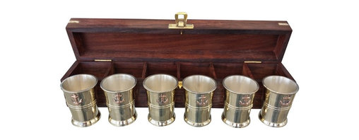 Handcrafted Nautical Decor - Six Anchor Shot glasses w/ Rosewood Box 12'' - Our Brass and Copper Anchor Shot Glasses - Set of 6 w/ Rosewood Box 12'' gives you a great reason to plan for your next nautical party! Handcrafted by our master artisans, these six shotglasses display a copper anchor on each brass shotglass. Ideal for nautical enthusiasts and beach-lovers  alike, give this set as a gift to those with an affinity for nautical decor. Bottoms up!------    Handcrafted from solid brass and copper by our master artisans--    The perfect nautical gift for any nautical enthusiast--    Copper anchor proudly adorns each shot glass--    --