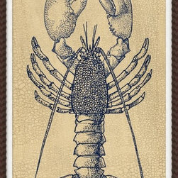 Wendover Art - Indigo Lobster Study 1 - This striking Giclee on Paper print adds subtle style to any space. A beautifully framed piece of art has a huge impact on a room for relatively low cost! Many designers and home owners select art first and plan decor around it or you can add artwork to your space as a finishing touch. This spectacular print really draws your eye and can create a focal point over a piece of furniture or above a mantel. In a large room or on a large wall, combine multiple works of art to in the same style or color range to create a cohesive and stylish space! This striking image is beautifully framed in mahogany scallop.