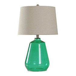 """Lamps Plus - Contemporary Emorale Glass Table Lamp - Simple yet bold this table lamp will surely catch the attention of visitors. It is a strong piece constructed out of a bright green glass. The white linen lampshade beautifully contrasts the overall design. Contemporary green table lamp. Emorale finish. Glass construction. Lampshade is linen. Maximum 100 watt or equivalent bulbs for all three lamps (not included). Rotary Switch. Shade is 15"""" across the bottom 13"""" across the bottom and 10"""" high. Base is 7"""" wide round. 25"""" high.   Contemporary green table lamp.  Emorale finish.  Glass construction.  Lampshade is linen.  Maximum 100 watt or equivalent bulbs for all three lamps (not included).  Rotary Switch.  Shade is 15"""" across the bottom 13"""" across the bottom and 10"""" high.   Base is 7"""" wide round.  25"""" high."""