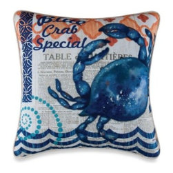 C & F Enterprises, Inc. - Blue Crab Square Toss Pillow - Add some nautical-inspired fun to your favorite couch, chair, or bed with this Blue Crab toss pillow. A friendly blue crab is set against an array of different patterns for a richly textured and colorful look.