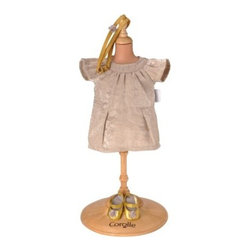 Corolle Mademoiselle Poupee 14 in. Party Dress & Shoes Doll Ensemble - In the Corolle Mademoiselle Poupee 14 in. Party Dress & Shoes Doll Ensemble her Corolle Mademoiselle doll will be well-dressed and ready for the party. This fashion-forward ensemble includes a shimmery ivory party dress, gold shoes, and coordinating gold headband. This party dress outfit is designed to fit a 14-inch doll. Ooh la la!About CorolleCorolle is a premier doll brand designed in the storybook region of France's Loire Valley. Since 1979, Corolle has been creating highly detailed dolls designed to be cherished by children everywhere. Every Corolle doll will inspire magical childhood memories that will last for a lifetime. Corolle dolls look and feel as real as possible. They're created of soft, supple vinyl, have natural-looking hair, and wear on-trend fashions. Corolle dolls are designed durable enough to withstand years of hugs and love. Perfect heirloom treasures! Doll play encourages children to explore different roles from caring for and sharing hopes and dreams to finding an understanding playmate and friend for life. Corolle designs dolls for children of all ages.There is a range of Corolle dolls designed for specific ages. Babi Corolle is a soft-body doll perfect for newborn babies and older. It's machine-washable, feather-light, and made to be loved. Mon Premier Corolle is designed for babies 18 months and older. This line includes a range of baby dolls, clothing, and accessories. The dolls are lightweight and soft. The clothing has Velcro closures so it's easy to put on and take off. Mon Classique Corolle is a classic baby doll designed for toddlers to love and nurture. This line has a complete assortment of larger baby dolls, clothing, and nursery accessories. Some even have hair that can be brushed and styled. Others coo, giggle, drink, and go potty. Mademoiselle Corolle is a toddler doll for toddlers. These dolls have expressive faces, silky long hair, and are dressed in the latest styles. This doll will be your little one's best friend. She's perfect for sharing secrets and working out new hairstyles and fashion. Les Cheries Corolle is designed for little ones four years and older. She has long, lush, rooted hair and an amazing wardrobe of stylish outfits. This doll provides endless hours of fashion and hair play.