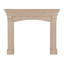 """Pearl Mantel - The Blue Ridge Fireplace Surround, Unfinished, 56"""" - A domestic love affair. While the fireplace is celebrated as the heart of the home, it looks especially beautiful in the embrace of a magnificent surround. And even when the fires have gone cold, your passion for design will always remain evident."""
