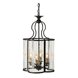 Currey and Company - Currey and Company Rupert Traditional Pendant Light - Curved multi-panel glass sides form a cloverleaf design in this unique piece. The wrought iron frame is finished with the Old Iron finish.