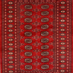 """ALRUG - Handmade Red/Rust Oriental Bokhara Rug 4' 2"""" x 6' (ft) - This Pakistani Bokhara design rug is hand-knotted with Wool on Cotton."""