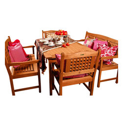 International Home Miami - Amazonia BT Milano Rectangular Porto 5-Piece Patio Dining Set - Great Quality, elegant design patio set, made of solid eucalyptus wood. FSC (Forest Stewardship Council) certified. Enjoy your patio with style with these great sets from our Amazonia outdoor collection
