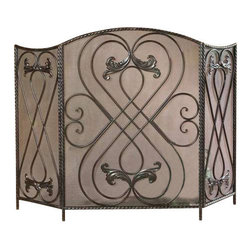 Uttermost Effie Metal Fireplace Screen - Distressed, aged black with chestnut brown undertones. Made of hand forged metal, this screen features a distressed aged black finish with chestnut brown undertones.