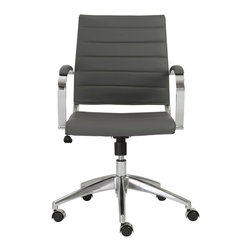 Eurostyle - Axel Low Back Office Chair-Gray/Aluminum - Leatherette seat and back over foam