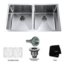 Kraus - Kraus 33 inch Undermount 50/50 Double Bowl 16 gauge Stainless Steel Kitchen Sink - *Add an elegant touch to your kitchen with a unique and versatile undermount sink from Kraus