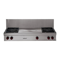 Wolf SRT484FX 48-Inch Pro-Style Gas Range Top - A few manufacturers offer a 48-inch rangetop with a French Top, which has concentric rings that distribute the heat across them from hottest in the center and allow you to simmer, cook sauces slowly and have a few different pots on the surface at one time.