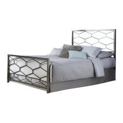 Fashion Bed - Fashion Bed Camden Bed in Golden Frost-King size - Fashion Bed - Beds - B11A26 -The Camden Bed offers a clean, sharp, unique look that quickly updates and changes your space. With square metal rails and posts and a fresh geometric design, the Camden Bed complements your contemporary decor with high-class style. The Camden Bed is finished in golden frost, a silvery base with gold-toned, hand applied sponging which creates a richly aged finish that complements its graceful lines. The Camden Bed is available in full, queen, and king sizes to accommodate any bedroom.