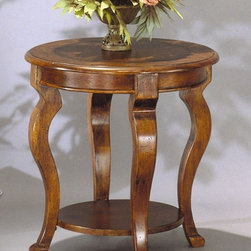 Bassett Mirror - Round End Table w Shelf in Mahogany Finish - Curved legs and a tooled leather inlay top give this hardwood round end table a stylish look that will be an enduring addition to your home's decor. The table features a lower display shelf and would be a perfect place for treasured art works, vases and more. Pontevecchio Collection. Tooled leather inlay tops and faces. Lower shelf for extra storage. Cameo legs. Made of selected hardwood. 24 in. Dia. x 24 in. H (26 lbs.)