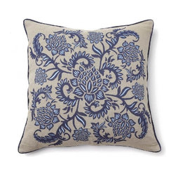 Villa Home - Full Bloom Indigo Blue Pillow - Our Full Bloom Pillows are ready to spring into your decorative motif.  An efflorescent array of floral print and embroidery combined with a plush feather down insert, this throw will add the finishing touches to any masterpiece.