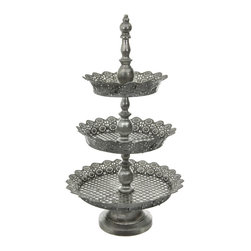 Oriental Furniture - 3-Tier Iron Plate Display Stand - Impressively tall and regally designed, this three tiered display stand is the perfect way to present desserts or favors at your next party. Finished with a patina that looks just like antique pewter, this stand will add a touch of old-world class to any event.