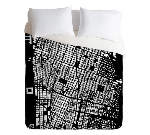 DENY Designs - CityFabric Inc NYC Black Duvet Cover - Turn your basic, boring down comforter into the super stylish focal point of your bedroom. Our Luxe Duvet is made from a heavy-weight luxurious woven polyester with a 50% cotton/50% polyester cream bottom. It also includes a hidden zipper with interior corner ties to secure your comforter. it's comfy, fade-resistant, and custom printed for each and every customer.