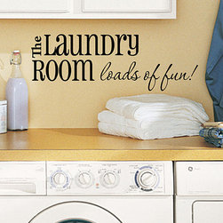 DecorDesigns - 'The Laundry Room Loads of Fun' Decal - Easy to apply and remove, this decal is a versatile accent that adds effortless charm to the laundry room and brightens household chores.   Includes decal, squeegee applicator and instructions 40'' W x 14'' H 100% vinyl Made in the USA