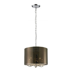 Five Light Chrome Organza Smoke Shade Drum Shade Chandelier - The  mysterious Mystique family of fixtures conceal and reveal only a glimpse of glitter emanating from the  crystals beneath the outer shades. Each fixture is paired with an outer shade to enhance the chandelier inside. This fixture is finished in chrome with a smoke organza outer shade.