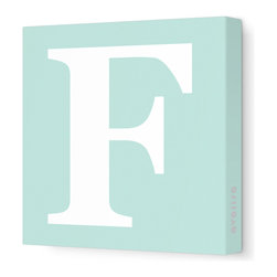 "Avalisa - Letter - Upper Case 'F' Stretched Wall Art, 12"" x 12"", Sea Green - Spell it out loud. These uppercase letters on stretched canvas would look wonderful in a nursery touting your little one's name, but don't stop there; they could work most anywhere in the home you'd like to add some playful text to the walls. Mix and match colors for a truly fun feel or stick to one color for a more uniform look."