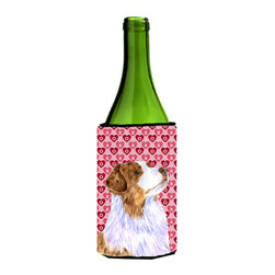 Caroline's Treasures - Australian Shepherd Hearts Love Valentine's Day Wine Bottle Koozie Hugger - Australian Shepherd Hearts Love Valentine's Day Wine Bottle Koozie Hugger Fits 750 ml. wine or other beverage bottles. Fits 24 oz. cans or pint bottles. Great collapsible koozie for large cans of beer, Energy Drinks or large Iced Tea beverages. Great to keep track of your beverage and add a bit of flair to a gathering. Wash the hugger in your washing machine. Design will not come off.