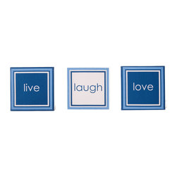 """Simplicity Blue - Canvas Art - 3pc canvas art pack adds """"life"""" to this collection and your room.  With words of """"live"""", """"laugh"""" and """"love""""  -- you can add even more personality to this room.    A gorgeous accent for the room or bathroom."""