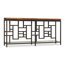 Hooker Furniture - Socorro Console Table - White glove, in-home delivery included!  This refined collection is crafted with wormy pine solids with railroad ties and tempered glass and metal.  One glass shelf.