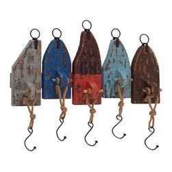 Vintage Wood Metal Wall Hook - Description: