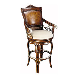 Royale Swivel Barstool - Awesome combination of rattan, leather and wood with cast aluminum in an intricate design.