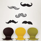 New for Back to School & Dorm Room Decor - Mustaches wall art kit mustache wall decal stickers New for Back to School & Dorm Room Decor