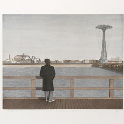 Max Ferguson, Coney Island - Self-Portrait (Color), Aquatint Etching - Artist:  Max Ferguson, American (1959 - )