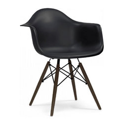 Design Lab MN - Mid Century Black Arm Chair with Walnut Wood Base (Set of 5) - Based on the classic Eames DSW Dining Chair designed in 1950 by Ray and Charles Eames. Our Mid Century Dining Chair is a high quality reproduction made from polypropylene with dark brown base legs, this contemporary version of the legendary DSW chair is both stylish and comfortable.