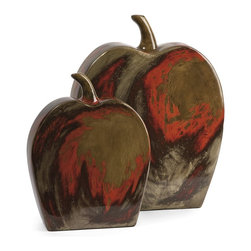 iMax - iMax Lancaster Apples Mexican Pottery - Set of 2 X-2-01648 - The set of two Lancaster apples are made from traditional Mexican clay with a fiery red and beige finish.