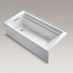 """KOHLER - KOHLER Archer(R) 72"""" x 36"""" alcove bath with integral apron and left-hand drain - Taking its design cues from traditional Craftsman furniture, the Archer line of baths reveals beveled edges and curved bases for a clean, sophisticated style. This bath offers a low step-over height while allowing for deep, comfortable soaking. Lumbar arch gently support the natural curves of your body."""