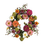 Nearly Natural - Peony Wreath - Not for outdoor use. A perfect mixture of beautiful bright colors. Sure to brighten any entryway for room. Bring flair to any space. 24 in. Diam (4lbs)Looking for the perfect focal point to spruce up your front door or entryway? This lush peony wreath demands attention. A mixture of bright and cream colored pastels, this elegant creation brings flair to any space it graces. Rich foliage surrounded by authentic crafted stems and a sprinkle of berries add further compliment to this masterpiece of nature.
