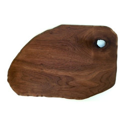 Sean Alan Designs - Oval Cutting Board Slate -Fo - Solid walnut serving platter/ cutting board. The shape is that to replicate a slate stone.  The carved polished edges make this piece one that stands out amounts the rest.