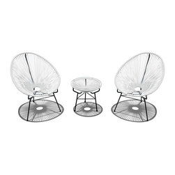 Harmonia Living - Acapulco 3 Piece Retro Patio Chat Set, White Lightning - Who needs the tropics when you have this fun, unusual furniture sitting on your patio or deck? Shaped like fans, the chairs will cushion your whole body, letting the breeze flow through, not just over you. Add the cushion to the table for an instant ottoman.