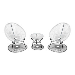 Acapulco 3-Piece Retro Patio Chat Set, White Lightning