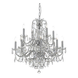 Crystorama - Imperial Chandelier - Bring palatial presence to your decor. A cavalcade of hand-cut crystal sparkles from a chrome-finished brass frame to drench your favorite formal setting with fabulous light.