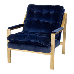 Kathy Kuo Home - Cumulus Hollywood Regency Navy Blue Velvet Gold Arm Chair - Plush velvet upholstery with tufted cushions makes this armchair feel like a cloud. Rich navy blue contrasts with metallic gold for a handsome statement piece that greets your guests with open arms. This oversized chair accents an Industrial Loft or a Modern living room.