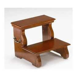 Bernards - Step Stool in Cherry Finish - Made of wood. 18 in. W x 18.50 in. D x 15.75 in H