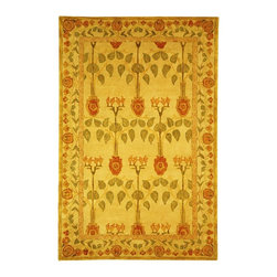 Safavieh - Hand Tufted Wool Rug in Ivory, Red & Green (2 ft. 3 in. x 10 ft. Runner) - Size: 2 ft. 3 in. x 10 ft. Runner. You'll feel like your walking through a garden with this fabulous Anatolia hand-tufted wool rug.  Unusual botanical print features meandering leafy vines in soothing shades of ivory, red, and green. Hand Tufted. Made of Wool. Pictured in Rectangle shape.