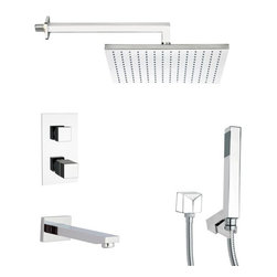 Remer - Polished Chrome Thermostatic Tub and Shower Faucet with Hand Shower - Thermostatic diverter.