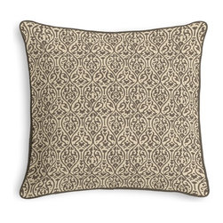 Gray Intricate Ogee Block Print Corded Pillow - Black and white photos, Louis XIV chairs, crown molding: classic is always classy. So it is with this long-time decorator's favorite: the Corded Throw Pillow.  We love it in this small intricate trellis handprinted in taupe on natural cotton.