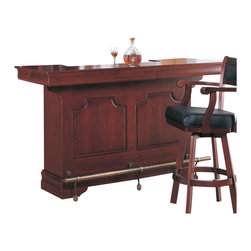 "Coaster - Coaster Lambert Traditional Bar Unit with Sink in Cherry - Coaster - Home Bars - 3078 - The Lambert collection is a great option if you are looking for Traditional furniture Create a great place to tend bar with this traditional bar unit in a beautiful Cherry finish. The front of the bar features carved wood panels bracket feet and an antique brass finish footrest for saloon style. The ""U"" shape bar offers plenty of room to seat friends and family that you host for get-togethers. On the inside of the bar you will have everything you need to serve snacks and drinks. Storage and serving space includes two shelves a counter top for working a non-draining sink to keep bottles on ice a towel bar two drawers two doors with inner storage and a center wine rack for ten bottles. Create a sophisticated spot to hangout with family and friends with this elegant bar unit."